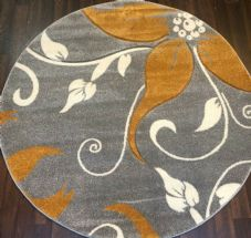MODERN 140X140CM CIRCLE RUG WOVEN BACK HAND CARVED LILY DESIGN SILVER / YELLOW